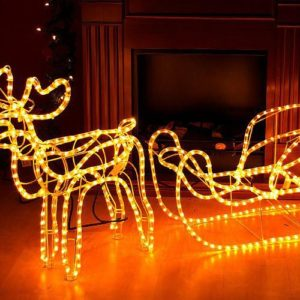 Vánoční sobí spřežení svítící