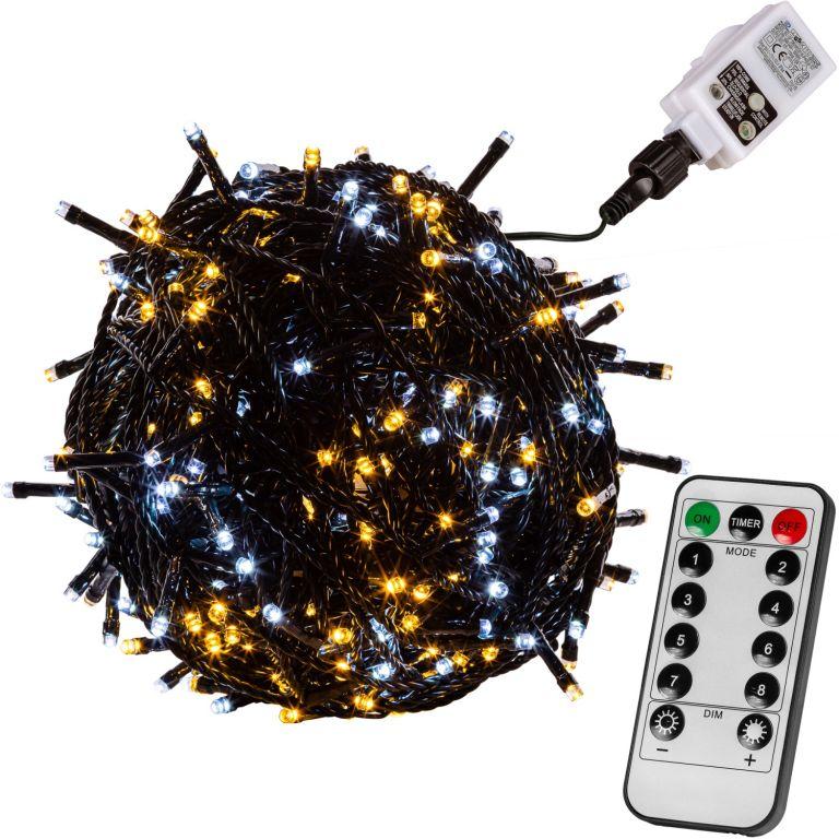 Vánoční osvětlení 60m - teple/studeně bílá 600LED na BATERIE